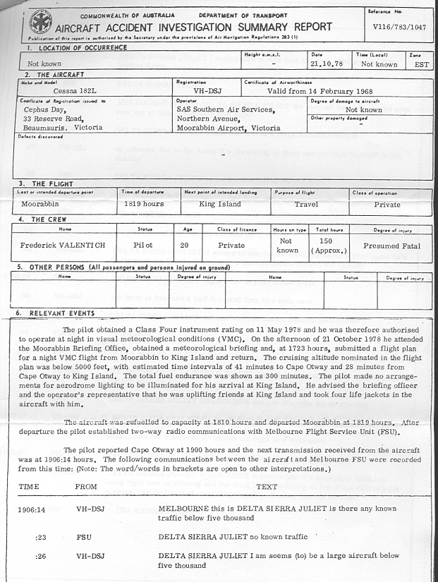 Aircraft Accident Investigation Summary Report Australia Valentich