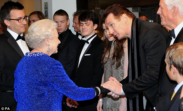 Liam Neeson meeting the Queen