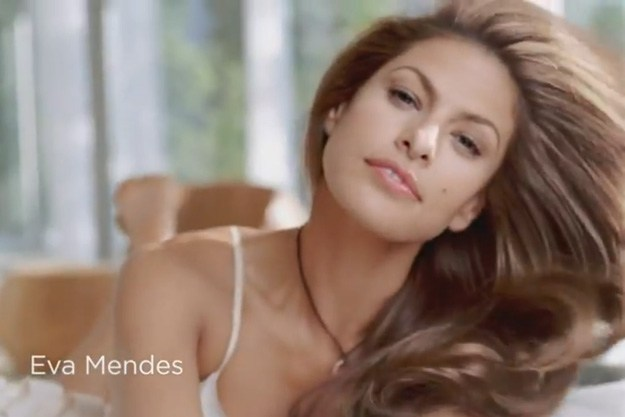 Eva Mendes in a shampoo commercial. 