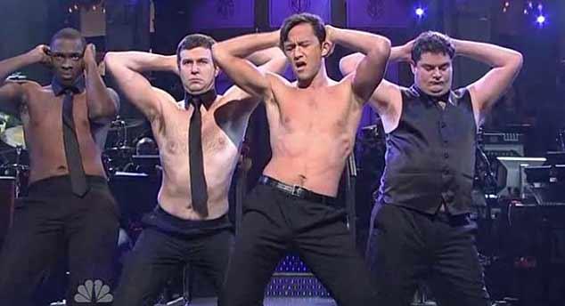 Joseph Gordon-Levitt stripping on SNL