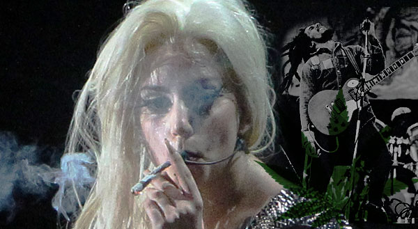 Lady Gaga lighting up a spliff in concert in Amsterdam