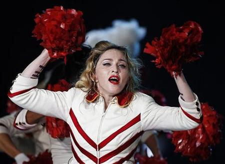 Madonna dressed as a creepy candy cane cheerleader