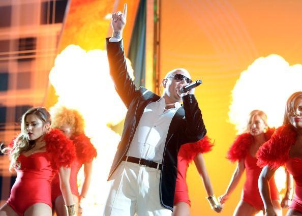 Rapper Pitbull on stage.
