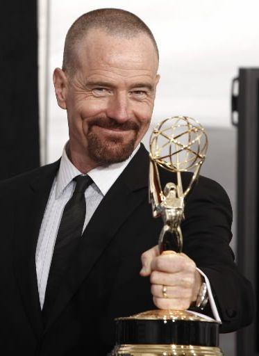 Bryan Cranston Holding Emmy Award