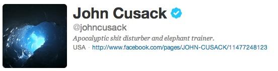 john cusack's twitter bio