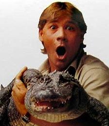 Steve Irwin Holding a Crocodile