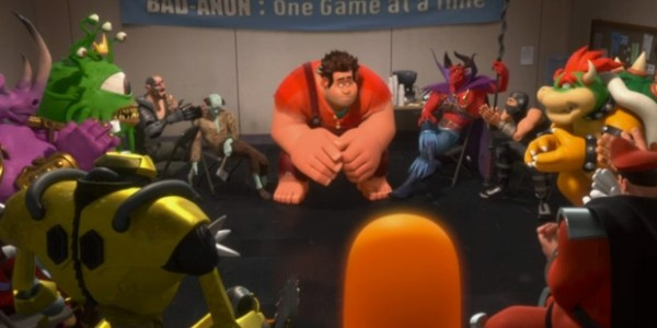 Wreck-It Ralph, surrounded by other video game characters, in a scene from Wreck-It Ralph.