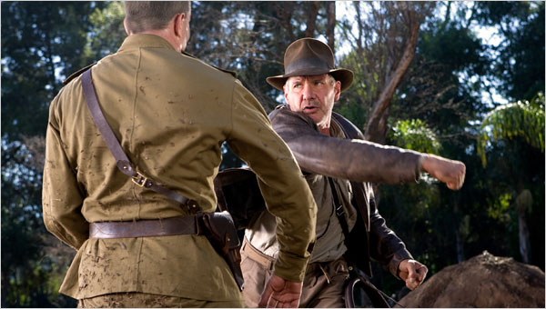 Indiana Jones throwing a punch, in Indiana Jones: Kingdom of the Crystal Skull