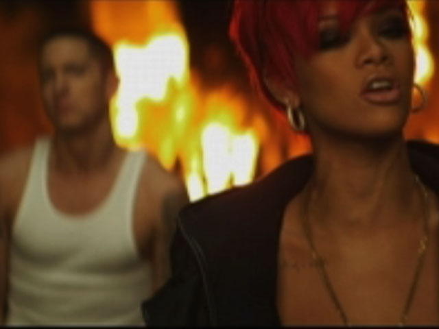 "A shot from the ""Love The Way You Lie"" music video."