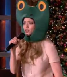 Amanda Seyfried in a frog mask on Ellen