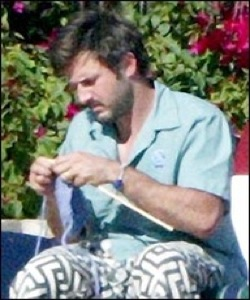 David Arquette Knitting