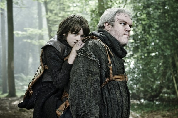 Crippled Bran riding Hodor in Gmae of Thrones.