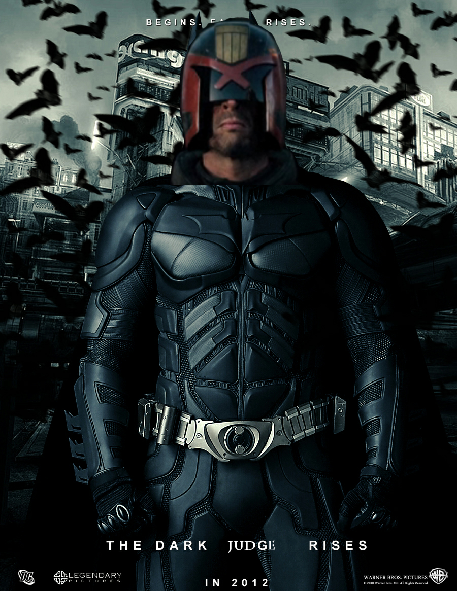 Judge Dredd's head on a Batman body.