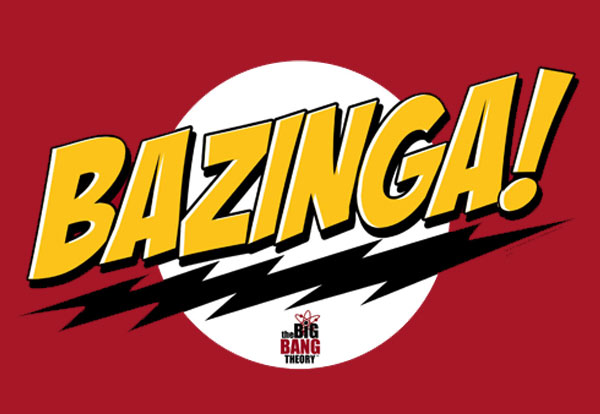 The Bazinga! logo from the show The Big Bang Theory.