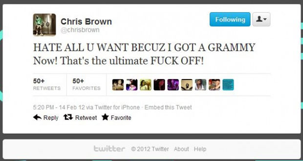 Chris Brown Grammy Tweet