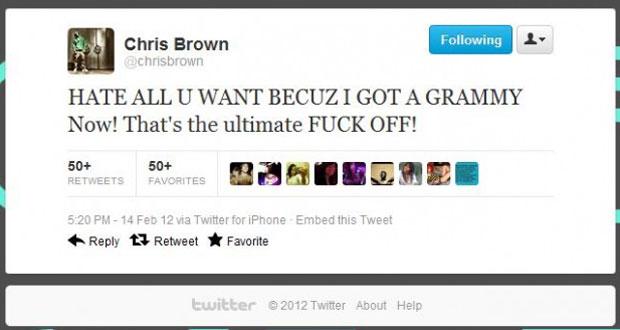 Chris Brown Grammy Tweet
