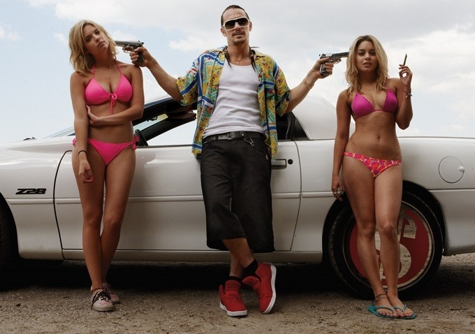 James Franco, Vanessa Hudgens and Ashley Benson in a promotional still from Spring Breakers.