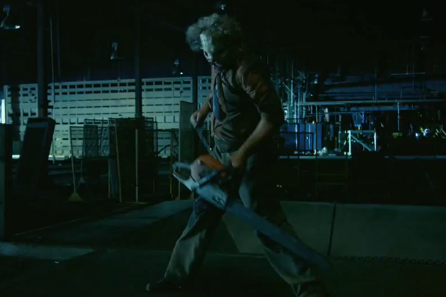Leatherface revving his chainsaw in Texas Chainsaw 3D.