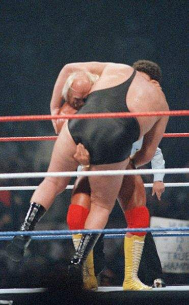 Hulk Hogan slamming Andre the Giant at Wrestlemania III.