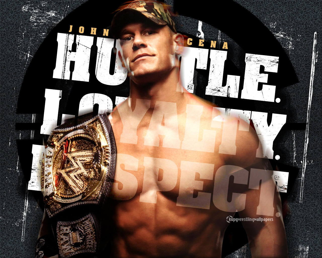John Cena holding the WWE championship.