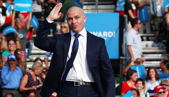 Pitbull giving a salute.