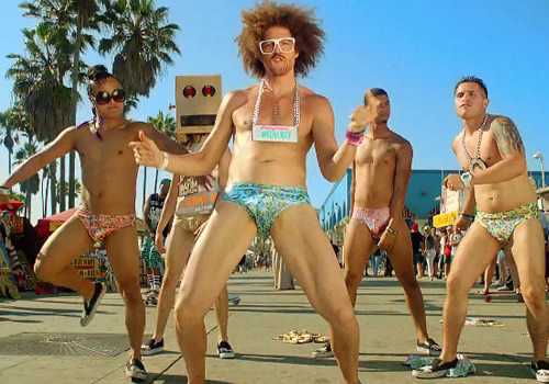 """A still from the """"Sexy And I Know It"""" video."""