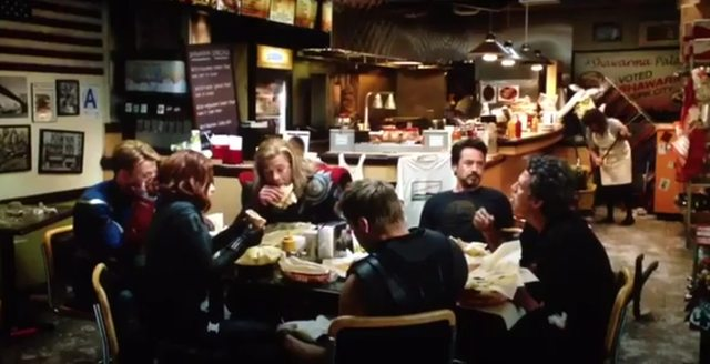 The Avengers eating.