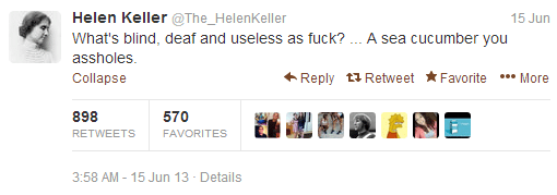 Helen Keller parody account