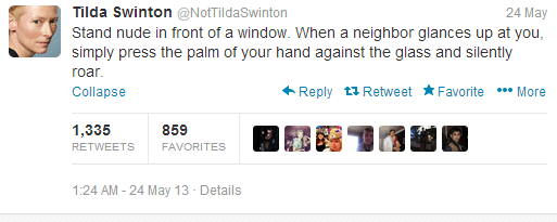 tilda swinton parody account