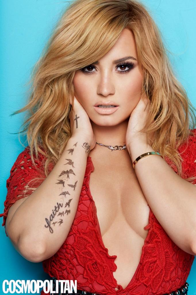 Demi Lovato Cosmopolitan cover tattoos