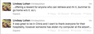Lindsay Lohan Twitter Laptop