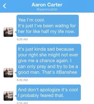 Aaron Carter Twitter Message