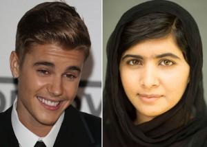 Justin Bieber and Malala Yousafzai